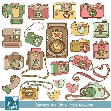 Clipart Câmeras e Pássaros