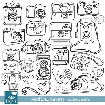 Clipart Câmeras Desenhada à Mão