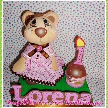 Topo de bolo Ursinha rosa e marrom