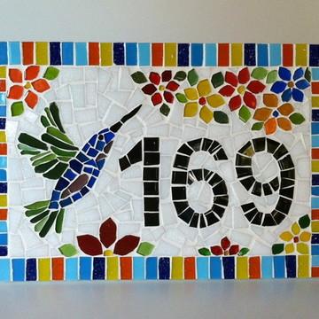 Número para Casa mosaico Beija Flor