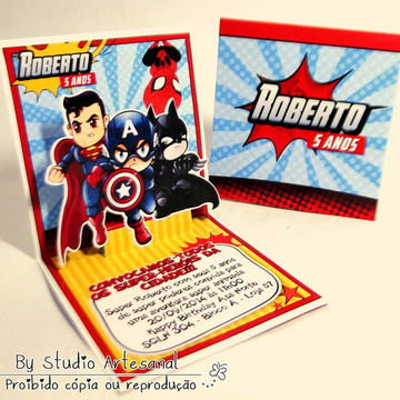 Convite Mini Pop Up - Super Herói