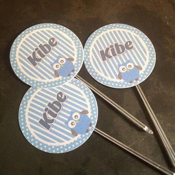 Topper Cupcakes - Coruja azul