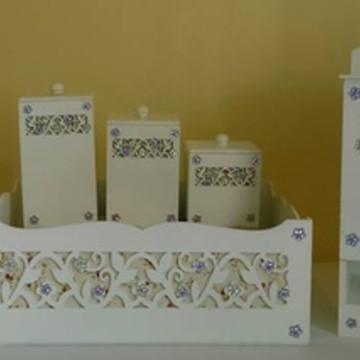Kit Higiene 6 peças-Floral Lilás e Bco