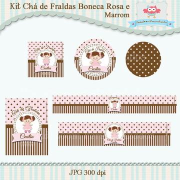 Kit Festa Infantil Boneca Rosa e Marrom