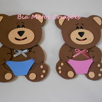 Aplique ursinho azul rosa e marrom