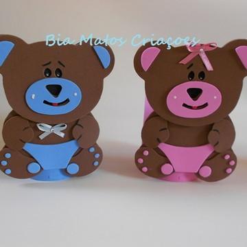 Centro de mesa ursinho rosa e marrom