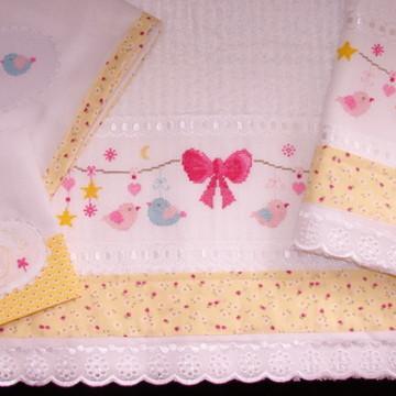 Kit de toalhas Varal de Passarinhos