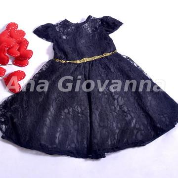 Vestido Infantil de Renda Preto