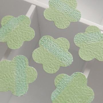Kit C/100 Aplique Flor Verde Lista