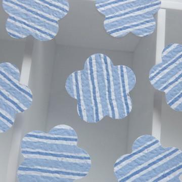 Kit C/ 100 Aplique Flor Azul Lista