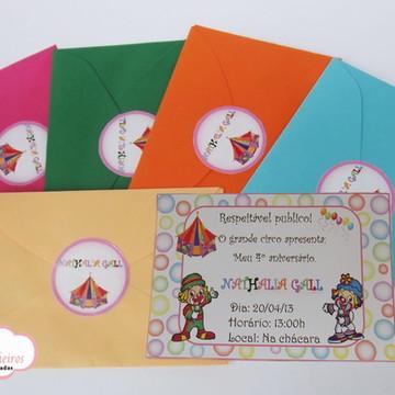 Convite Festa infantil Tema Circo