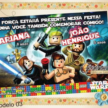 Convite Star Wars Legos Novos