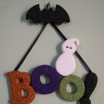 Enfeite de porta Halloween-Boo