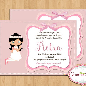 Convite Primeira Comunhão - Rosa