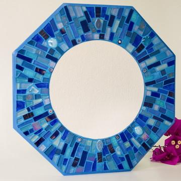 """Espelho em mosaico """"Raios Azuis"""""""