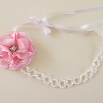 faixa tiara headband criança noiva perola flor