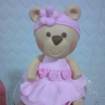 Topo de bolo Ursa rosa