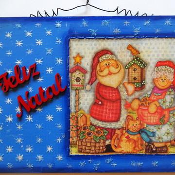 Quadro Azul Estrelado Feliz Natal