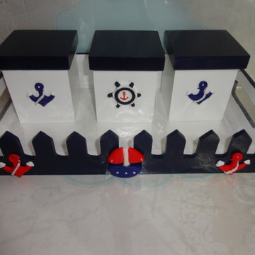 Kit Higiene - Cesta com potes Marinheiro