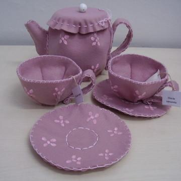 bule em feltro rosa