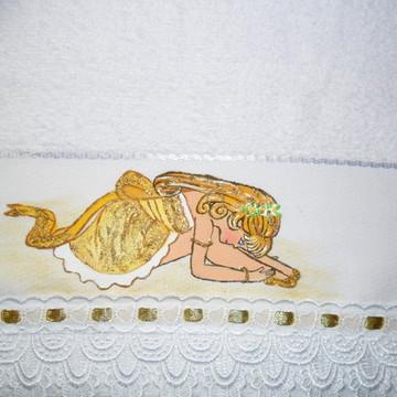 Toalha p/ lembrancinha bailarina dourada