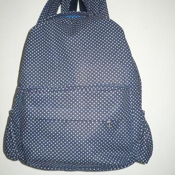 mochila infantil poá-azul
