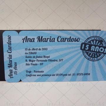 Convite 15 anos Ticket