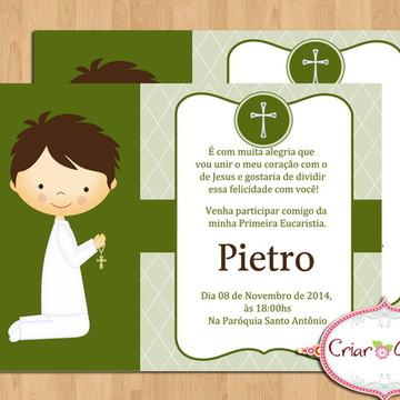 Convite Primeira Comunhão - Verde