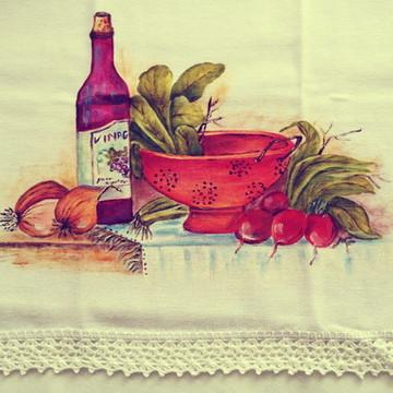 Pano de prato pintado a mão: Legumes