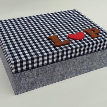Caixa em mdf revestida em tecido Xadrez