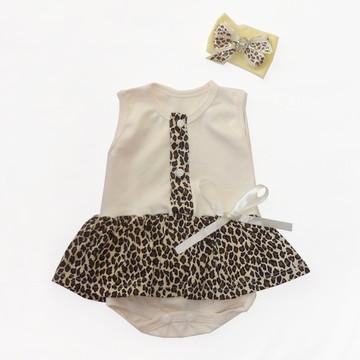 Kit bebê faixa e body Oncinha