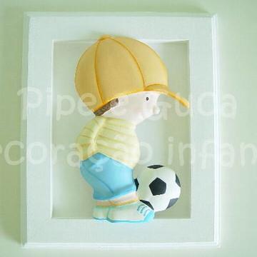 (DO 0012) Quadro decor menino futebol
