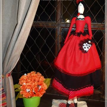 Boneca estilo TILDA - figurino Espanhola