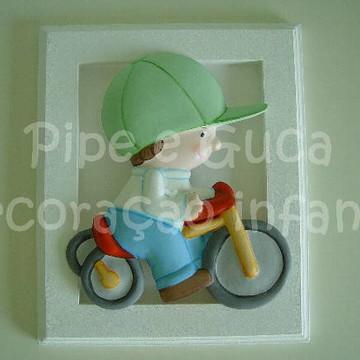 (DO 0015) Quadro decor menino bicicleta