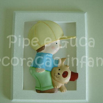 (DO 0014) Quadro decora menino cachorro