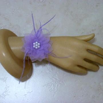 Corsage flor de tecido Nenúfar organza