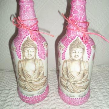 Garrafa em craquelê decorada Buda
