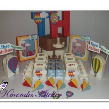 Kit Chá de Fraldas Gêmeos - Balões