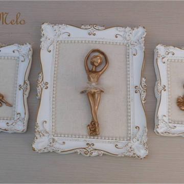 trio de quadros bailarina dourada