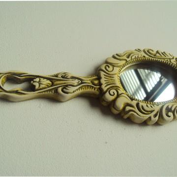 Espelho de Mão e bolsa oval