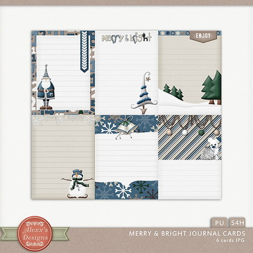 Kit Digital Merry & Bright Journal Cards
