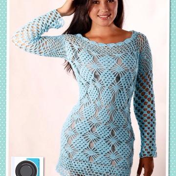 c2a4caf30 Vestido curto e manga longa em crochet