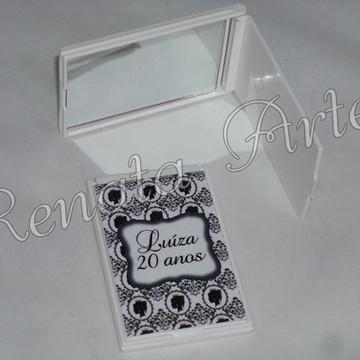 Espelho de bolsa preto e branco