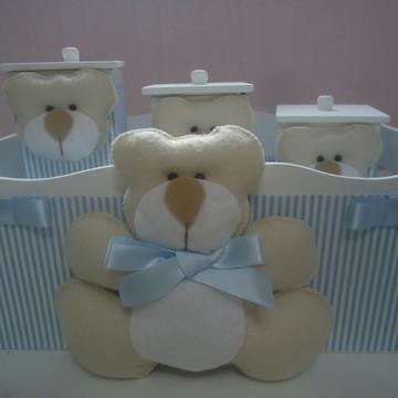 Kit Higiene Bebê Urso Azul & Bege Listra