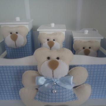 Kit Higiene Urso Azul & Bege