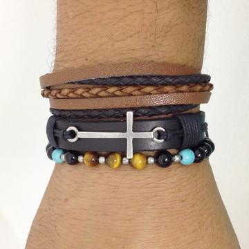 Kit 3 pulseiras masculinas