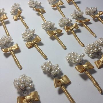 Broche da lapela de pérolas ABS- Dourado