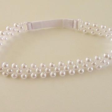 faixa headband tiara perola noiva bebe