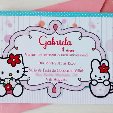 Convite - Tema Hello Kitty