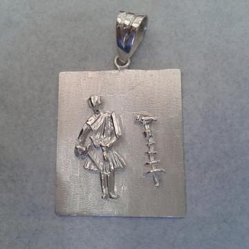 Pingente Oxalá c Opaxoro em prata